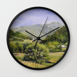 Pastures and Mount Mansfield Oil Landscape Vermont Painting Wall Clock