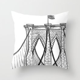 Brooklyn Bridge Drawing Throw Pillow