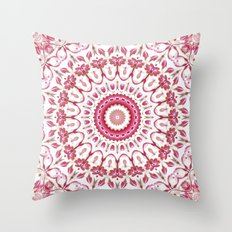 Pink White Floral Mandala Throw Pillow