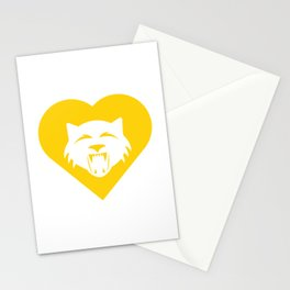 Wildcat Mascot Cares Yellow Stationery Cards