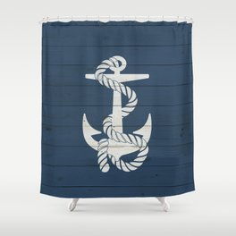 Blue Wood Anchor Shower Curtain