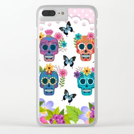 Floral Sugar Skulls Clear iPhone Case