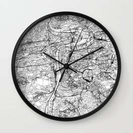 Prague White Map Wall Clock