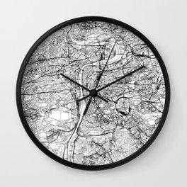 Prague White Map Wall Clock