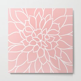 Print Floral, Minimalist, Line Drawing, Pink and White Metal Print