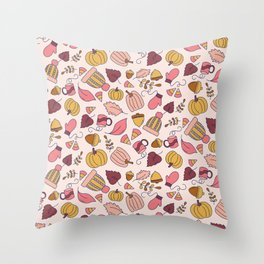 Fall Leaves + Cozy Mittens Pattern Throw Pillow