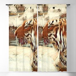 Warm colored Animal swimming tiger Blackout Curtain