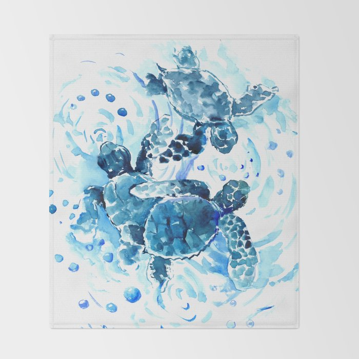 Three Sea Turtles, blue bathroom turtle artwork, Underwater Throw Blanket
