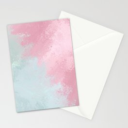 Modern abstract pink teal watercolor pattern Stationery Cards