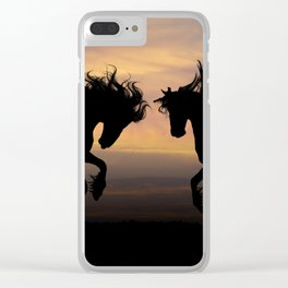 Wild Horses Silhouette Clear iPhone Case