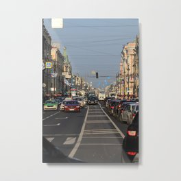 Cars traffic on Nevsky Prospect Metal Print