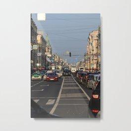 Cars traffic on Nevsky Prospect Metal Print