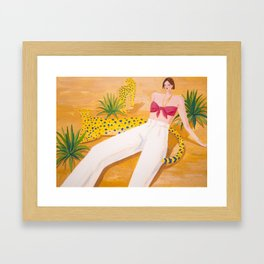 Girl and Panthers in Palm Desert Framed Art Print