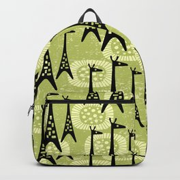 Mid Century Modern Giraffe Pattern Black and Chartreuse Backpack