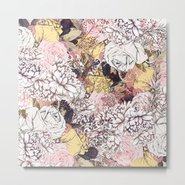 Beautiful vintage rose pattern in gentle colors Metal Print