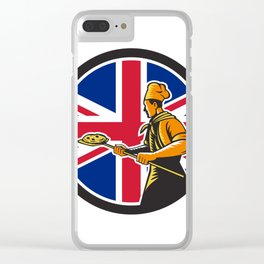 British Pizza Baker Union Jack Flag Icon Clear iPhone Case