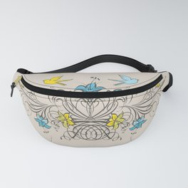 Shabby Chic vintage lily flowers bouquet and birds 1 Fanny Pack