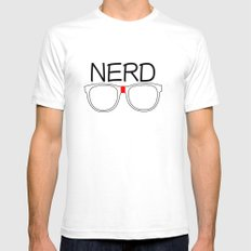 Nerd SMALL Mens Fitted Tee White