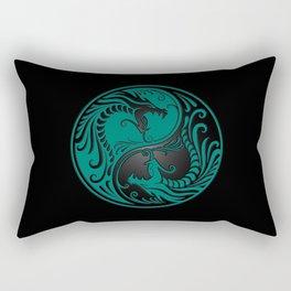 Teal Blue and Black Yin Yang Dragons Rectangular Pillow