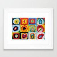 kandinsky Framed Art Prints featuring Farbstudie Quardrate by Wassily Kandinsky by designforme