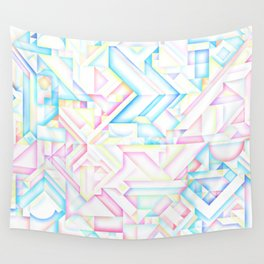 90s Inspired Print // GEOMETRIC PASTEL BRIGHT SHAPES PATTERN GRAPHIC DESIGN Wall Tapestry