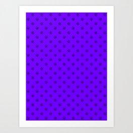 Black on Indigo Violet Snowflakes Art Print
