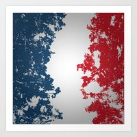 france Art Prints featuring France by Flat Design