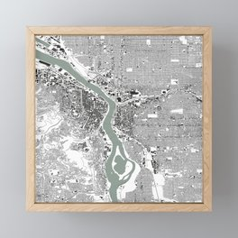 Portland, OR City Map Black/White Framed Mini Art Print