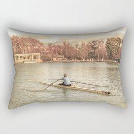 Woman Rowing at Del Retiro Park, Madrid, Spain Rectangular Pillow