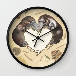 Sweet platypus with hearts Wall Clock
