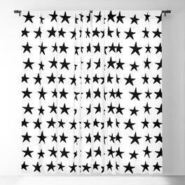 Star Pattern Black On White Blackout Curtain