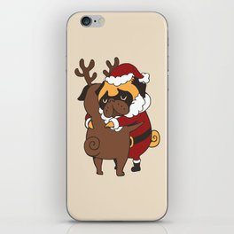 Pug Hugs Christmas iPhone Skin