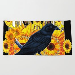 GRAPHIC BLACK CROW & YELLOW SUNFLOWERS ABSTRACT Beach Towel