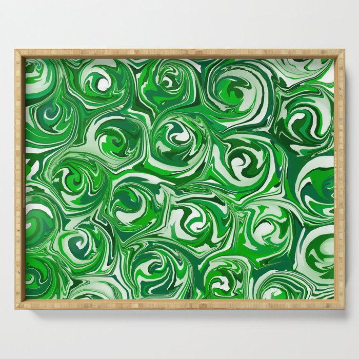 Emerald Green, Green Apple, and White Paint Swirls Serving Tray