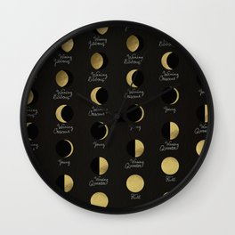 The Lunar Cycle • Phases of the Moon – Black & Gold Palette Wall Clock