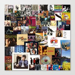 Classic Rock And Roll Albums Collage Canvas Print