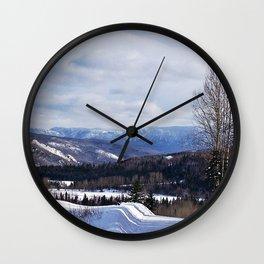 Mountain Winter Road Wall Clock