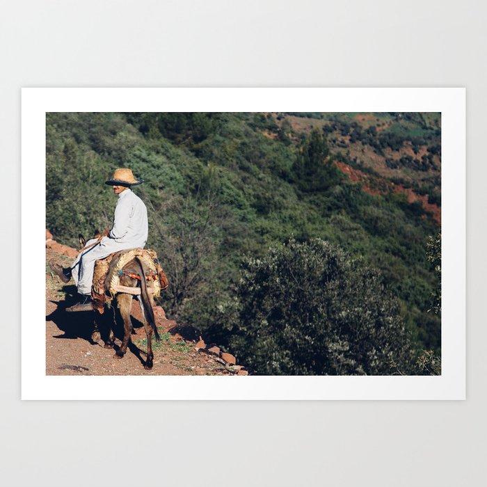 A man and his donkey Art Print