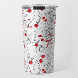 Christmas Pattern with Mouse Travel Mug