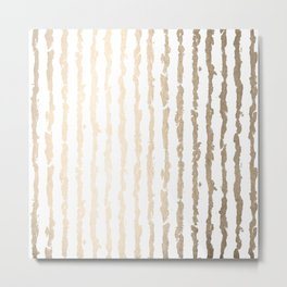 White Gold Sands Vertical Ink Stripes Metal Print
