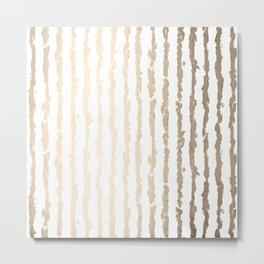 White Gold Sands Vertical Ink Stripes Metal Print