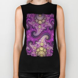 Dragon spirals and orbs in pink, purple and yellow Biker Tank