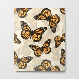 Monarch butterfly pattern Metal Print