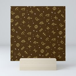 Star Constellation - Star Signs Drawing Brown Mini Art Print