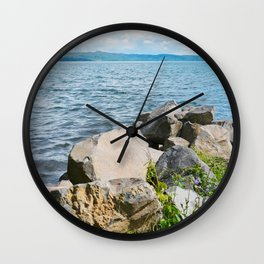 Beautiful blue lake and stones in Tuscany, Italy Wall Clock
