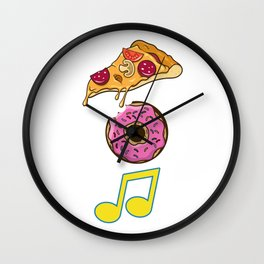 Pizza Donut Music Italian Cuisine Foodies Food Lovers Gift Wall Clock