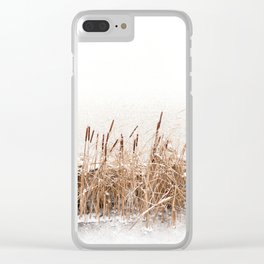 Snow on Typha reeds and frozen water Clear iPhone Case