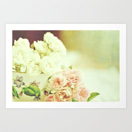 Roses and teacup Art Print