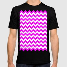 Chevron (Fuchsia/White) MEDIUM Black Mens Fitted Tee