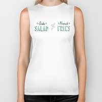french fries Biker Tanks featuring Side Salad or French Fries by Daily Dishonesty